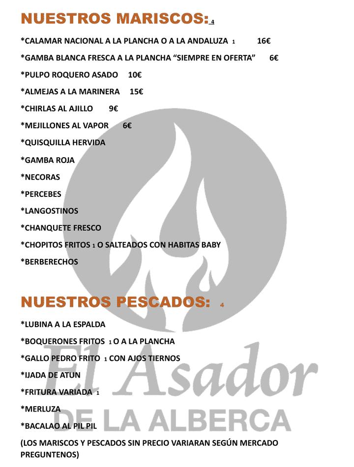 El Asador menu